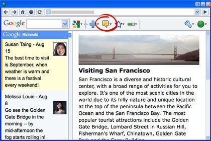 Google SideWiki with toolbar