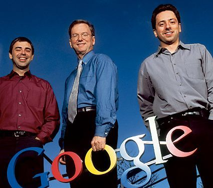 Larry Page, Eric Schmidt and Sergey Brin