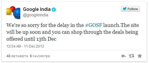 Google India tweets on GOSF down
