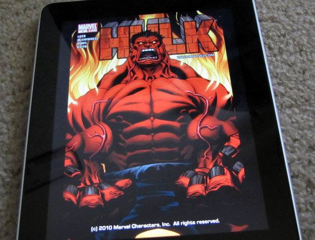A Hulk comic running on the Apple iPad