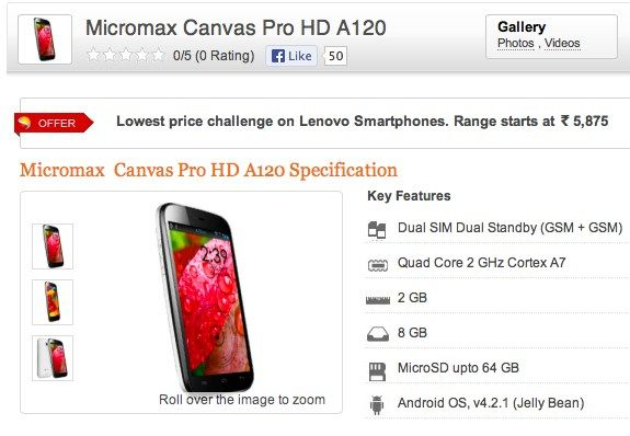Micromax A120 Canvas HD Pro quad-core 5 5-inch phablet listed online