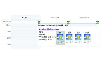 This is how weather is shown in Calendar