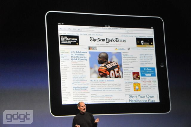 The Apple iPad's large 9.7-inch screen is ideal for displaying web sites