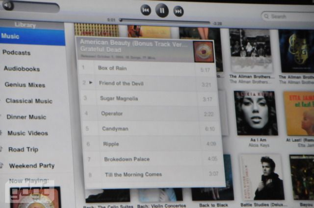 Apple iTunes on the Apple iPad