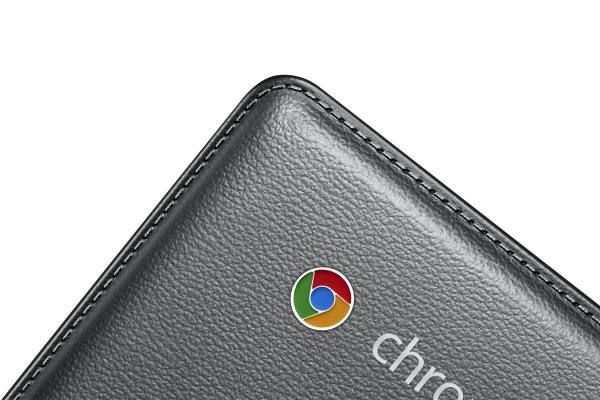 The faux leather finish lends a premium feel and look to the Chromebook 2