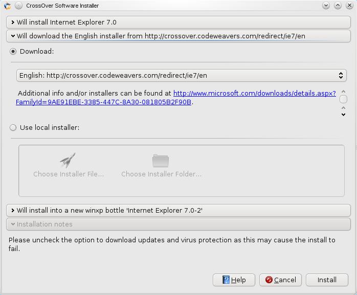 Crossover software installer installing IE7