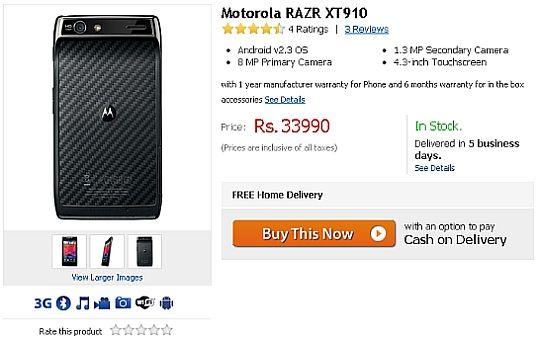 motorola droid razr price. motorola droid razr xt910 available online in india for rs. 33,990 price