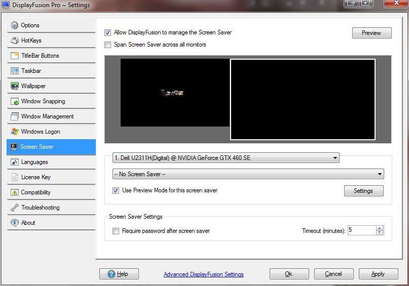 displayfusion screensaver not found
