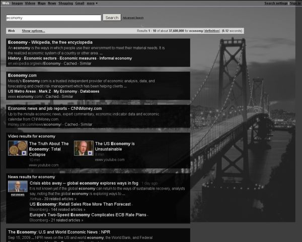 RedesignGoogle black bridge background with white text
