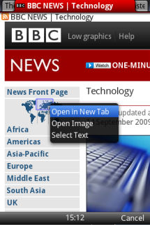 Multi-tab browsing in Opera Mini 5 beta on a non-touch Device