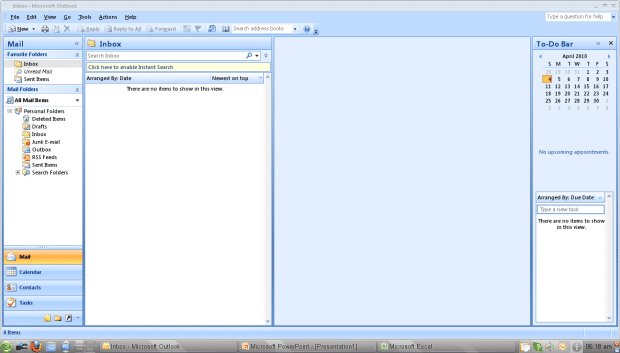 Microsoft Office Outlook 2007 running on openSUSE using CrossOver 9.0. [Click for larger image]