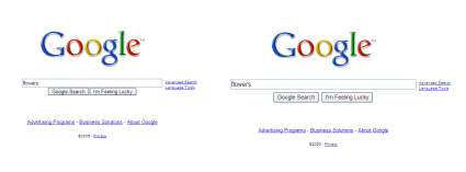 Google old and new search comparison