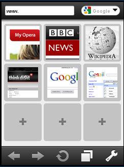 Opera Mini 5 beta home-screen