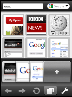 Multi-tab browsing in Opera Mini 5 beta for Touch Devices