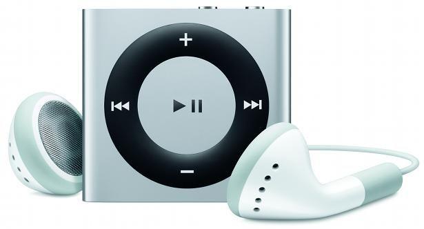 iPod Shuffle with its bundled earphones