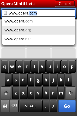URL auto-complete, and touch-screen text entry on Opera Mini 5 beta