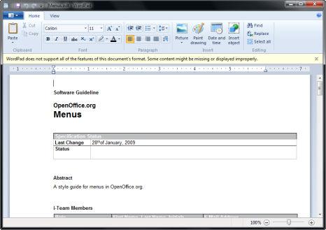 Windows 7 Wordpad